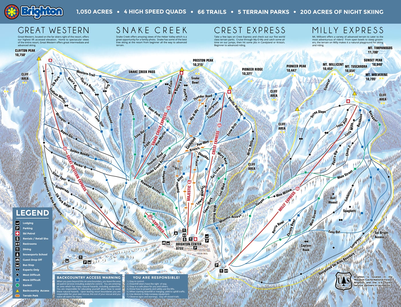 Brighton Trail Map. Salt Lake City Skiing