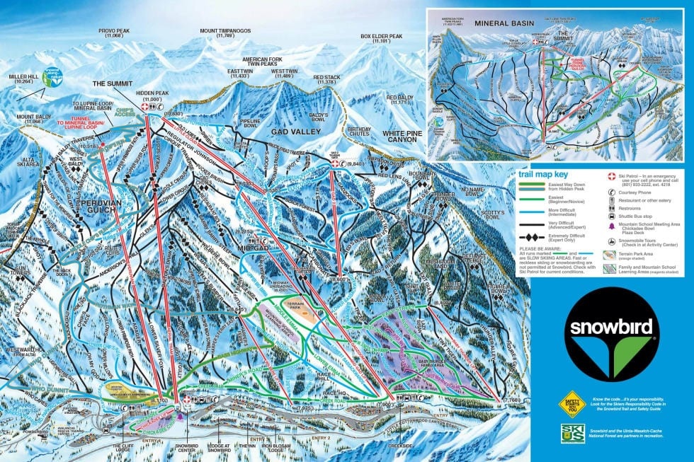 Snow Bird Map Salt Lake City Ski Trip