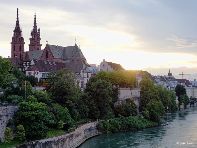 Basel Munster and Rhine River