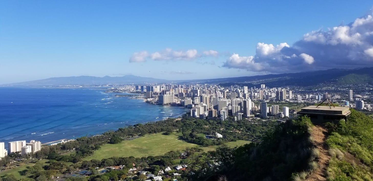 View from Diamond Head Crater Hike in Oahu Hawaii