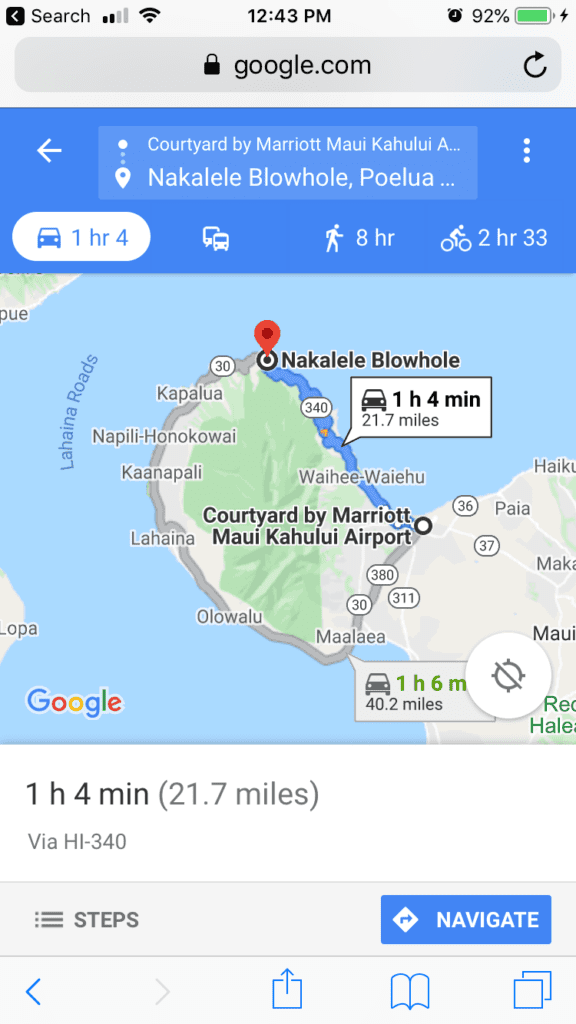 Map of the Road of Death Maui