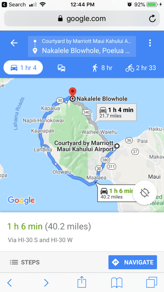 Directions to nakalele Blow Hole