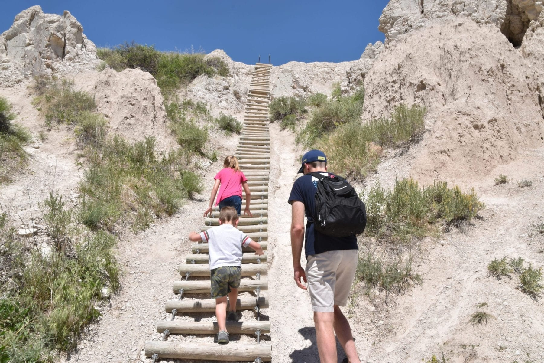 Notch ladder trail at the badlands National Park