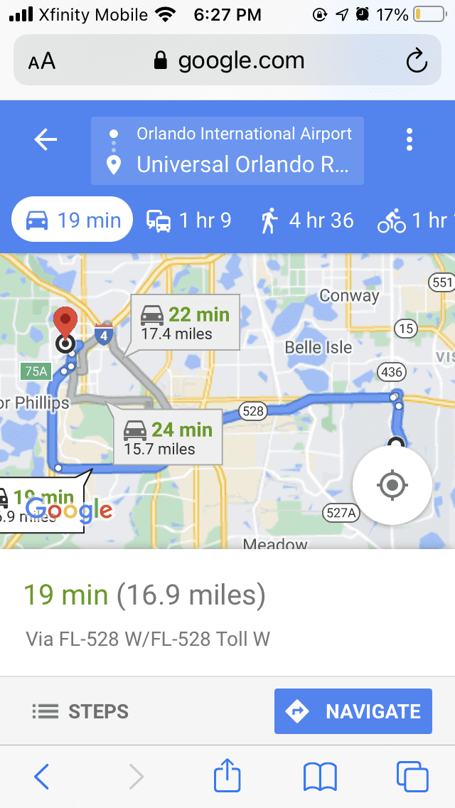 map from airport to Universal Orlando